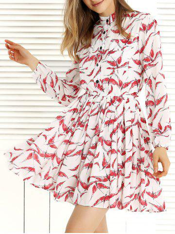 Outfits Long Sleeve Pleated Swing Print Dress RED/WHITE XL