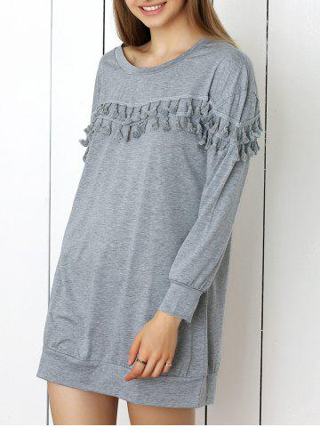 Outfits Long Sleeve Tunic Shift Dress with Tassel GRAY XL