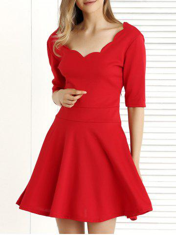 Unique Pure Color 1/2 Sleeve Pleated Dress RED 2XL