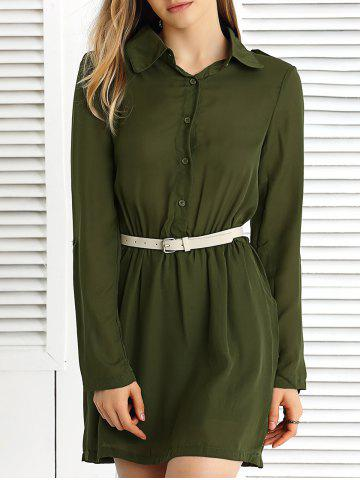 Long Sleeve Pure Color Slimming Dress - ARMY GREEN S