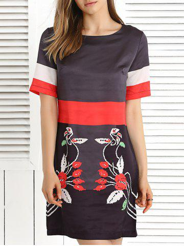 Outfit Short Sleeve Color Block Printed Dress DEEP GRAY 3XL