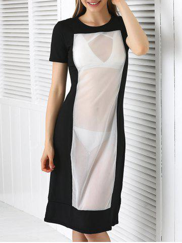 Outfits Short Sleeve See Through Club Dress OFF WHITE L