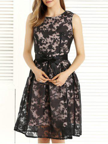 Bowknot Design Embroidery Lace Sleeveless Dress - Black - S