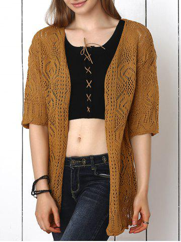 Best Crochet Candy Color Hollow Out Cardigan