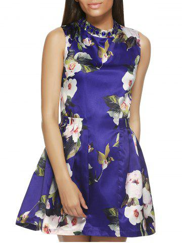 Shops Sleeveless Round Neck Floral Print Dress
