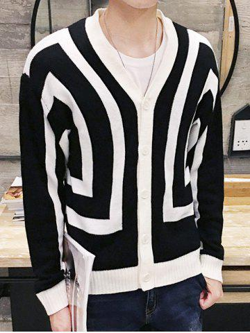 V-Neck Color Block Geometric Pattern Single Breasted Cardigan For Men