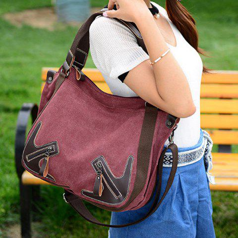Fancy Casual Zippers and Splicing Design Shoulder Bag For Women - WINE RED  Mobile