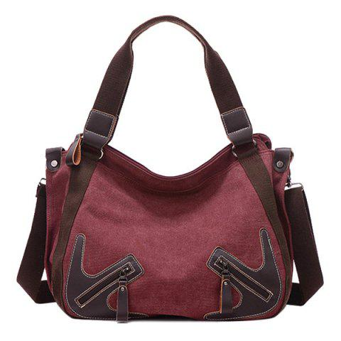 Sale Casual Zippers and Splicing Design Shoulder Bag For Women - WINE RED  Mobile