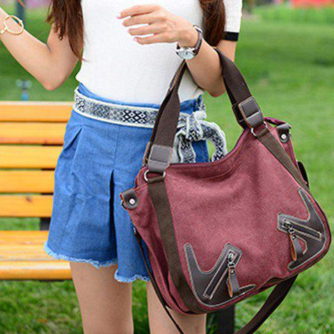 Trendy Casual Zippers and Splicing Design Shoulder Bag For Women - WINE RED  Mobile
