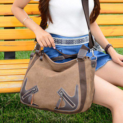 Trendy Casual Zippers and Splicing Design Shoulder Bag For Women - BROWN  Mobile
