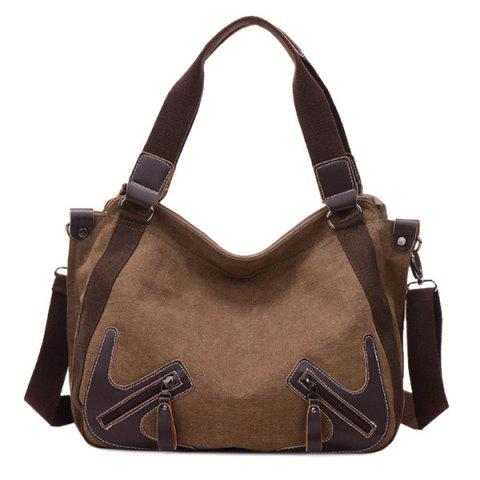 Casual Zippers and Splicing Design Shoulder Bag For Women - BROWN