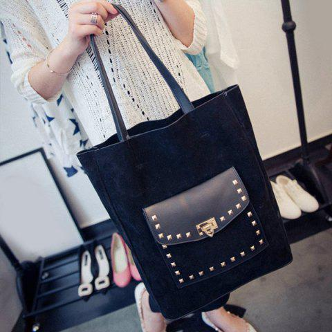New Casual Rivet and Faux Suede Design Shoulder Bag For Women
