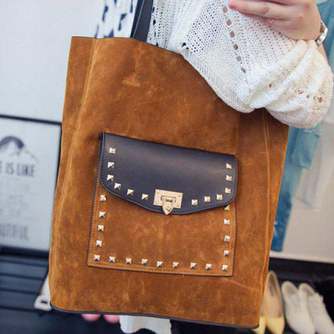 Casual Rivet and Faux Suede Design Shoulder Bag For Women - BROWN