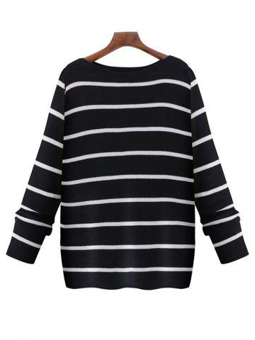 Outfits Oversized Boat Neck Long Sleeve Striped Sweater BLACK 5XL