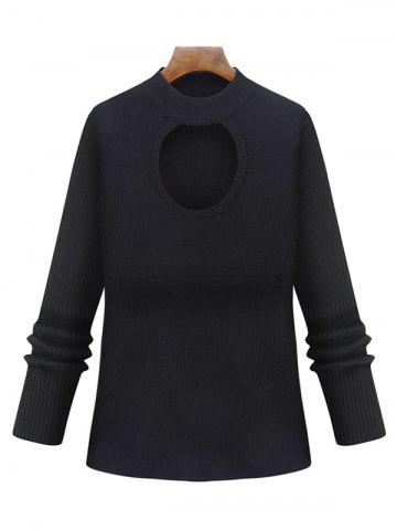 Affordable Plus Size Cut Out Keyhole Knitted Sweater