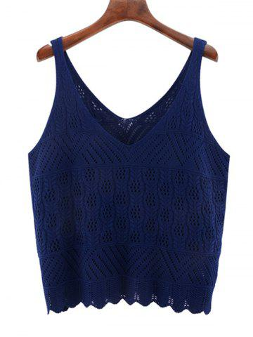 Cheap Oversized V Neck Scalloped Crochet Knitwear DEEP BLUE 3XL