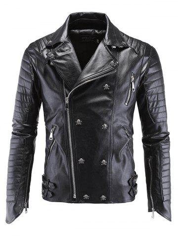 Best Lapel Collar Skull-Buttons Design Long Sleeve Leather Jacket BLACK 5XL