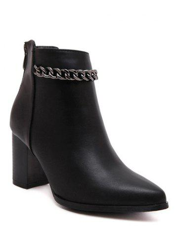 Cheap Stylish Black and Chain Design Short Boots For Women BLACK 39