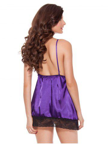 Discount Attractive T-Back and Spaghetti Strap Backless Lace Trim Babydoll For Women - XL PURPLE Mobile