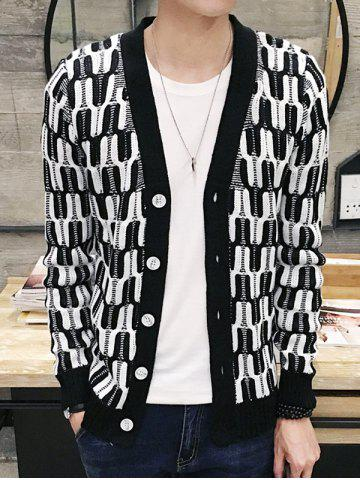 V-Neck Geometric Pattern Single Breasted Cardigan For Men