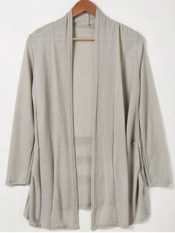 Cheap Shawl Collar Solid Color Long Sleeves Cardigan