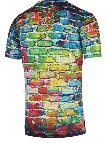 Cheap Colorful Brick Wall Print Round Neck Short Sleeve Tee For Men - XL COLORFUL Mobile