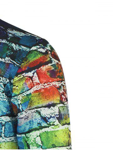 Outfit Colorful Brick Wall Print Round Neck Short Sleeve Tee For Men - XL COLORFUL Mobile