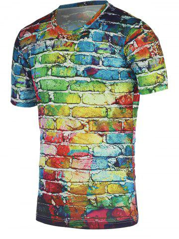 Fashion Colorful Brick Wall Print Round Neck Short Sleeve Tee For Men COLORFUL XL