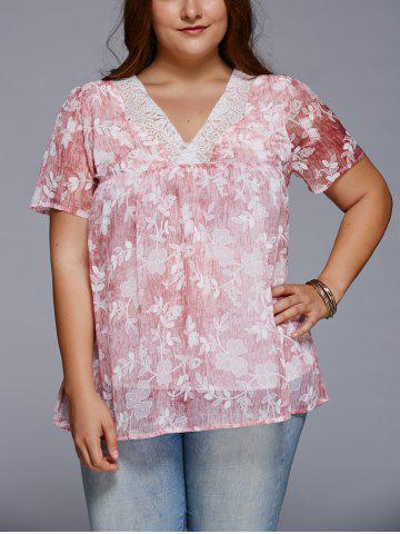Shops Sweet V Neck Floral Plus Size T-Shirt