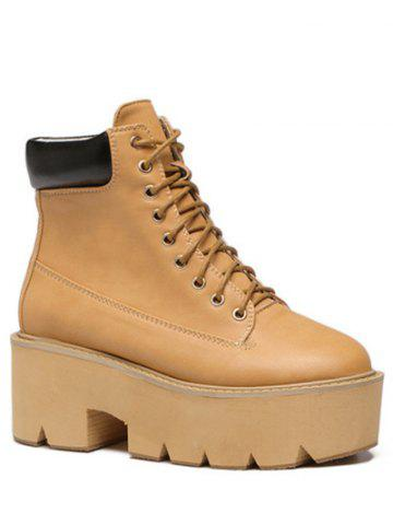 Discount Trendy Platform and Tie Up Design Short Boots For Women