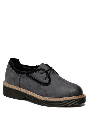 Leisure Tie Up and Splicing Design Platform Shoes For Women - BLACK - 39