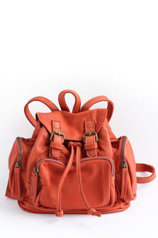 Double Buckles Backpack - Jacinth - S