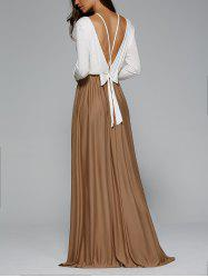 Backless Pleated Long Sleeve Maxi Prom Dress -