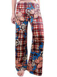 Houndstooth Flowers Wide Leg Palazzo Pants - DEEP RED