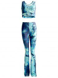 Chic Tie Dye Tank Top and High Waist Pants Set For Women -