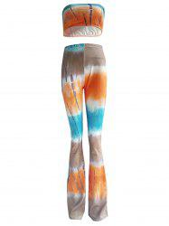 Colorized Padded Tube Top and High Waist Pants Set For Women -
