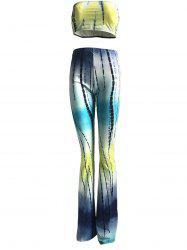 Colorized Padded Crop Top and High Waist Pants Suit For Women -