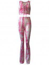 Casual Lace Up Tank Top and Tie Dye Pants Set For Women -