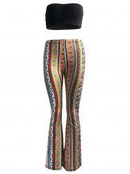 Ethnic Solid Color Tube Top and High Waist Pants Set For Women