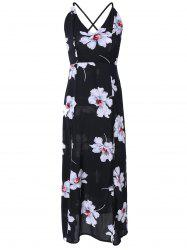 Crossover Backless High Slit Floral Maxi Dress