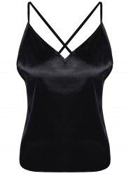 Spaghetti Strap Camisoles Silk Backless Tank Top -