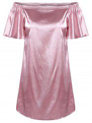 Glossy Off-The-Shoulder Ruched Dress For Women -