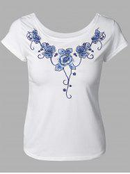 Elegant Floral Embroidery Tee -