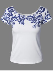 Quiet Color Floral Pattern Tee -