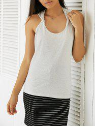 Casual Slimming Round Neck Backless Top For Women