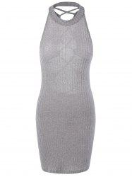 Hollow Out Ribbed Bodycon Bandage Mini Dress - GRAY
