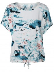 Ink Painting Water Lily Pattern Blouse -