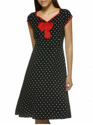 Chic Women's Polka Dot Cap Sleeve V-Neck Dress -