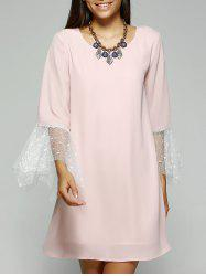 Simple Style Women's Jewel Neck Laced Pink Dress