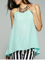 Simple Style Women's Bowknot Decorated Chiffon Tank Top - LIGHT BLUE XL